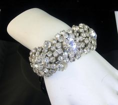 Wide Rhinestone Clamper Bracelet by EclecticVintager on Etsy