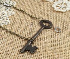 Skeleton key necklace  key necklace  skeleton by FleetwoodandCo, $29.00