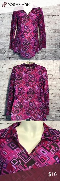 Tomorrow's Mother Ladies M Maternity Blouse Career This Blouse is beautiful purple pink and black pull over with a collar Tomorrows Mother Tops Blouses