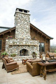 Amazing stone fireplace outdoors