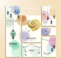 Kareem ramadan watercolor card vector