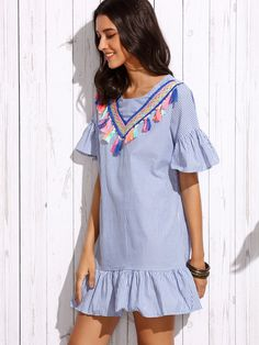 Vestido rayas verticales volantes con detalle de cinta bordada - azul-Spanish SheIn(Sheinside)