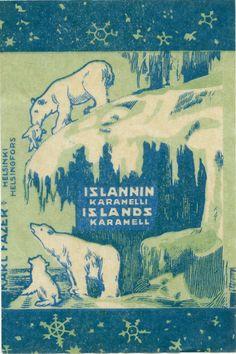 Islannin karamelli, #Fazer #Island #Polarbear #Ice Good Ol Times, Lapland Finland, Vintage Packaging, Ancient History, Travel Posters, Cool Pictures, Retro Vintage, Vintage World Maps, Nostalgia