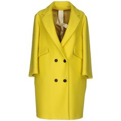 Annie P. Coat (1,370 MYR) ❤ liked on Polyvore featuring outerwear, coats, yellow, double-breasted coat, flannel coat, 3/4 sleeve coat, yellow coat and collar coat