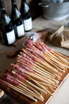 Prosciutto Wrapped Grissini -Use Prosciutto di San Daniele if possible. So easy, so Italian! .