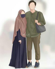kumpulan kartun romantis parf 3 - my ely Cute Muslim Couples, Muslim Girls, Muslim Women, Cute Couples, Cover Wattpad, Hijab Drawing, Moslem, Islamic Cartoon, Couple Sketch