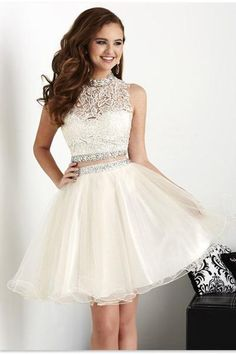 Two Pieces Bead High Neckline Prom Dress Homecoming Dress