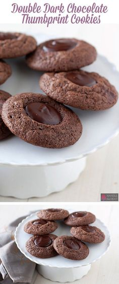 Double Dark Chocolate Thumbprint Cookies recipe from Handle the Heat