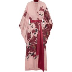 Multicolored silk-satin Slips on silk Dry clean Made in Belgium Pink Dressing Gown, Kimono Dressing Gown, Skyfall, Jennifer Fisher, Lace Bridal Robe, Silk Kimono Robe, Floral Kimono, Silk Satin, Floral Prints