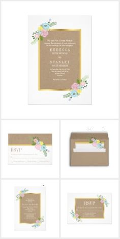 Pink, aqua vintage flowers and craft paper wedding invitations collection that features light brown craft looking paper with a gold border and an illustration of an elegant bouquet of light pink, aqua blue and yellow flowers.