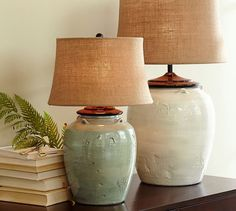 Courtney Ceramic Table Lamp Base - Ivory or Blue | Pottery Barn $130 - $200                                                                                                                                                                                 Más