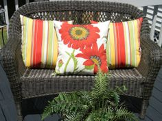 """SET OF 3 20"""" Indoor / Outdoor Throw Pillows - Red, Green Poppy Flower Pottery Barn Fabric & Red, Green, Yellow Stripe by PillowsCushionsOhMy, $79.96 Red Throw Pillows, Outdoor Throw Pillows, Yellow Stripes, Porch Ideas, Seat Cushions, Red Green, Pottery Barn, Poppy, Indoor Outdoor"""