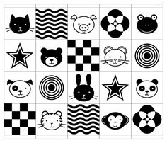 High-contrast black and white animals and geometric shapes for use in baby items.  A fat quarter backed with fabric makes a great playmat, or chop it up and turn it into a quilt, bunting, soft book or even a mobile.