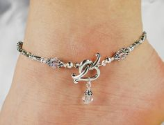 Anklet Ankle Bracelet Heart Front Closure by ABeadApartJewelry