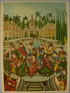 Krishna and Gopis Date: ca. 1880–1900 Culture: India Medium: Lithograph with varnish Dimensions: Image: 13 3/4 × 9 7/8 in. (34.9 × 25.1 cm) Sheet: 14 1/8 × 10 3/8 in. (35.9 × 26.4 cm) Classification: Prints Credit Line: Purchase, Gift of Mrs. William J. Calhoun, by exchange, 2013 Accession Number: 2013.8