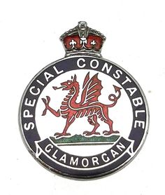 World War Two Glamorgan Special Constabulary Enamel Lapel Badge