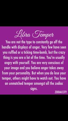 I don't buy into the whole Zodiac signs stuff. But, this does a good job of describing me. Libra Temper ~~ Although we rarely loose it, when we do. others better watch out! Libra Zodiac Facts, Libra Quotes, Libra Horoscope, Virgo And Libra, Libra Astrology, Capricorn Ascendant, Pisces Moon, Aquarius, Quotes Quotes