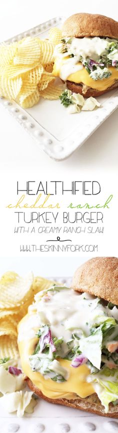Healthified Cheddar Ranch Turkey Burger - A cheesy ranch turkey burger that's full of flavor and sneaky veggies! TheSkinnyFork.com
