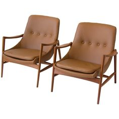 Pair of Norwegian Leather Lounge Chairs by Rastad & Relling | 1stdibs.com