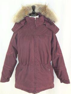 Cabelas Womens  Puffer Coat Goose Down Dark Plum Fur Trim Hood M #Cabelas…