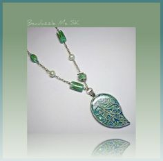 Pale Green Leaf Statement Necklace polymer clay Faux Dichroic