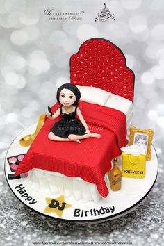 A Bed Cake for Ruchi s birthday clicking her selfie ...