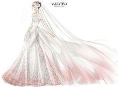 Anne Hathaway's Pink Valentino Wedding Dress (sketch)