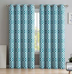 "HLC.ME Trellis Printed Blackout Room Darkening Thermal Grommet Window Curtain Drape Panels for Bedroom - Set of 2 - Teal Blue - 84"" inch Long #HLC.ME #Trellis #Printed #Blackout #Room #Darkening #Thermal #Grommet #Window #Curtain #Drape #Panels #Bedroom #Teal #Blue #inch #Long"