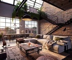 Urban Industrial Decor To A Stunning Place Wohnen im I. - Urban Industrial Decor To A Stunning Place Wohnen im Industrial Chic! Dream Home Design, Modern House Design, My Dream Home, Modern Houses, Cool House Designs, Dream Life, Glass House Design, Luxury Houses, New Yorker Loft