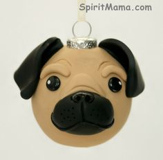 Brown Pug Dog Round Tree Ornament Dog Breed Art by SpiritMama, $25.00