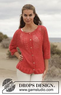 """Knitted DROPS jacket with round yoke and lace pattern in """"Alpaca Silk"""". Size: S - XXXL. ~ DROPS Design"""