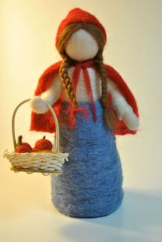 Waldorf inspired needle felted doll: The Little Red Riding Hood by Marcella of Canada. Wool Needle Felting, Needle Felting Tutorials, Wet Felting, Little Doll, Little Red, Felt Fairy, Waldorf Dolls, Fairy Dolls, Felt Toys