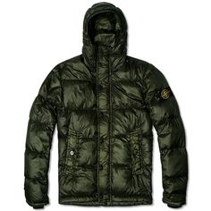 Stone Island Garment Dyed Hooded Down Jacket (Olive)