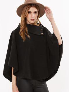 32$  Buy now - http://diqdp.justgood.pw/go.php?t=8674 - Black Button Turtleneck Poncho Coat