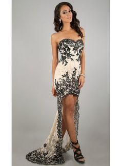A line Sweetheart Lace High Low Evening Dress