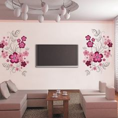 5.76$  Buy here - http://dimuo.justgood.pw/go.php?t=160655701 - Creative 60*90cm Flower Pattern TV Background PVC Wall Stickers