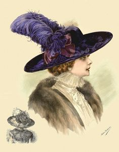 "Photo from album ""Чудо-шляпки"" on Yandex. Victorian Hats, Victorian Women, Victorian Fashion, Vintage Fashion, Edwardian Era, Retro Mode, Mode Vintage, Vintage Ladies, Vintage Hats"