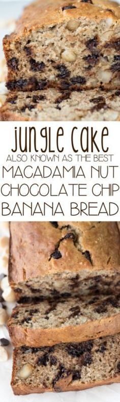 This is the BEST banana bread recipe!! Macadamia Nut Chocolate Chip Banana Bread or Jungle Cake as it's called in Hawaii.