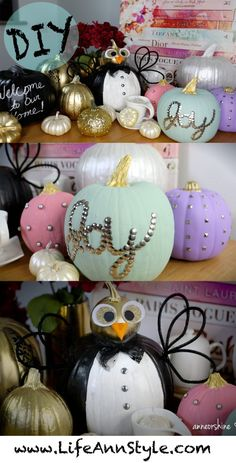 DIY Decorative Thanksgiving Pumpkins :: Home Decor ideas - Amazing Diy Gifts Crafts To Do, Fall Crafts, Diy Crafts For Kids, Holiday Crafts, Holiday Fun, Holiday Decor, Pumpkin Art, Pumpkin Ideas, Diy Y Manualidades
