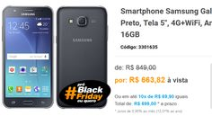 "Samsung Galaxy J5 Dual Chip Preto Tela 5"" 4GWiFi Android 5.0 13MP 16GB << R$ 63063 >>"