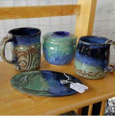 Robin's Egg / Navy Blue 4pc Set $175  (2 Mugs [Beloved & Believe on handles] Spoon Dish & Sugar Pot.) Pottery is my craft, but the Glazing is MY Art. Sugar Pot, Blue Green, Navy Blue, Blue Pottery, Robins Egg, Stoneware, Glaze, Spoon, Coffee Mugs