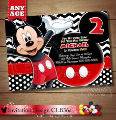 HUGE SELECTION Chevron Mickey Mouse Birthday Invitation, Clubhouse Mickey, Chevron Mickey Invitation, Mickey Mouse Printable Invitation by ThePrintableOccasion on Etsy https://www.etsy.com/listing/174893161/huge-selection-chevron-mickey-mouse