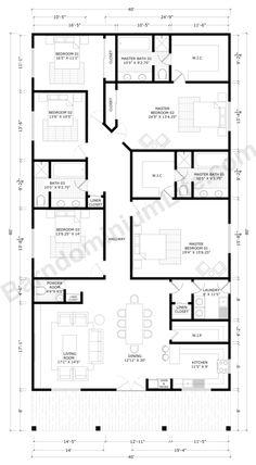 Floor Plans 2 Story, Barn Homes Floor Plans, Barndominium Floor Plans, Farmhouse Floor Plans, Home Design Floor Plans, House Plans One Story, Barn House Plans, Bedroom House Plans, New House Plans