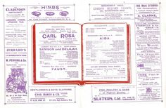 From May 1921 the Carl Rosa Grand Opera Co. programmes for 'Samson and Delilah' 'Faust' and 'Aida' - surrounded by contemporary advertisements. Amongst the cast was the great English soprano Eve Turned as 'Marguerite' in Faust.