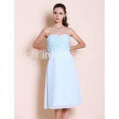 A-line Sweetheart Tea-length Chiffon Bridesmaid Dress  Light Sky Blue, Light In The Box website.