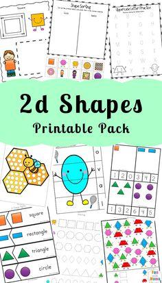 Printable Worksheets For Teaching 2D Shapes For Preschoolers and Kindergarteners via @funwithmama