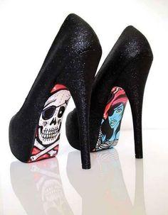 stilettos shoes | ARSTCRYLIQUE: Old school tattoos on your stilettos www.DarkRealmz.com