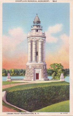 Crown Point Reservation NY Vintage Linen Postcard Champlain Memorial Monument