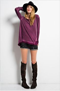 Oil Washed Tunic - Plum Small - Large