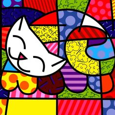 Happy Cat by Romero Britto. Pintura Graffiti, Graffiti Painting, Graffiti Art, Painting For Kids, Art For Kids, Splat Le Chat, Decoupage, Mosaic Patterns, Art Plastique
